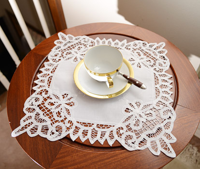 Battenburg Lace Square Doilies.14x14in.White. Each